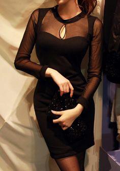 Black Mesh Keyhole Cut Out Scoop Long Sleeve Dress @ Lookbook Store $26
