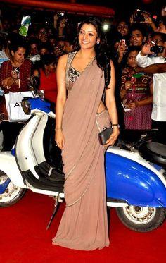 Kajal aggarwal latest photos in black transparent saree | navel visible | Indian Filmy Actress