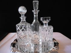 Decanters on silver tray on dining room buffet! Description from pinterest.com. I searched for this on bing.com/images