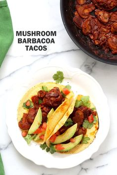 Vegan Barbacoa Mushroom Tacos . These saucy Barbacoa Tacos are super easy and versatile. Use the from scratch chile sauce with beans, lentils or other shredded vegetables for variation. #Vegan Barbacoa Recipe. #Glutenfree #Nutfree #soyfree #Recipe #veganricha | VeganRicha.com