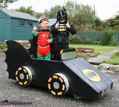 Amy: Boys batman fans - went for the pull along version of the batmobile! Old pram wheels on thick wooden base - made frame nailed together to make basic shape, cardboard...