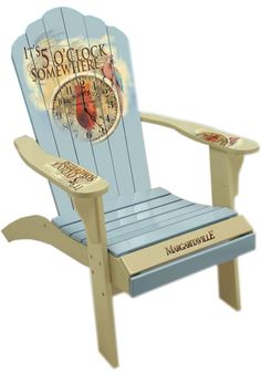 """Margaritaville Painted """"5 O'clock Time Piece"""" Adirondack Chair"""
