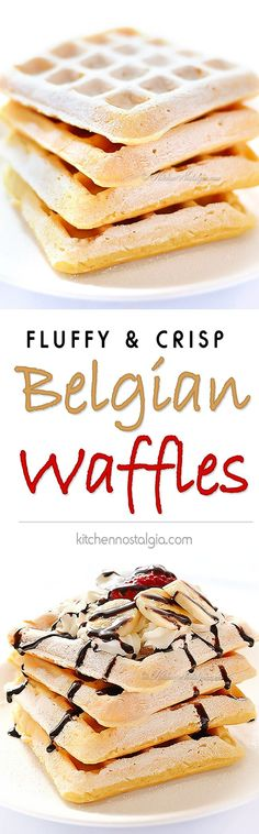 Authentic Belgian Waffles - fluffy on the inside, crisp on the outside; true Belgian grandma's recipe with yeast