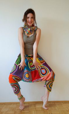 Funky Crochet Harem Pants. by subrosa123 on Etsy