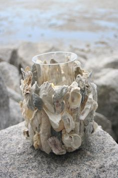 Oyster shells http://www.etsy.com/listing/61816517/oyster-shell-candle-holder-tall