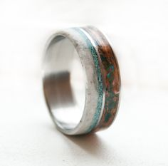 Staghead Designs - Mens Wedding Band- Patina Copper Antler and Turquoise