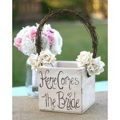 Shabby Chic Flower Girl Basket Rustic Wedding Decor (item B10086) via Polyvore