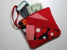 Zippered Clutch, Quilted Wristlet, Cell Phone Purse, Modern Red and Black Patchwork , Quiltsy Handmade by VillageQuilts on Etsy