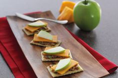 Bacon Cheddar Crackers - A spread of spicy brown mustard and bacon pieces complements the sharp cheddar cheese and apple slices atop these crackers.