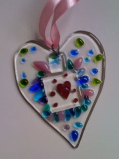Jewel colours fused glass heart by NeekyRabbit, via Flickr  #fused #glass #heart #crafting