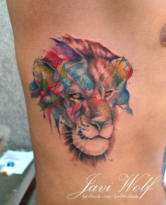 Lion.  Tattooed by @javiwolfink