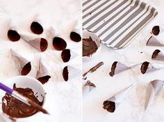 Cómo hacer mini conos de chocolate