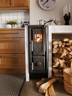 Scandinavian wood stove--tiny space