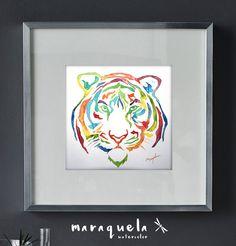 Tigre abstracto en acuarela. Colores vivos y por Maraquela en Etsy
