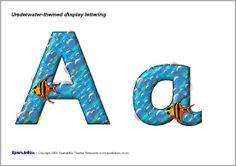 Underwater-themed display lettering (SB1387) - SparkleBox