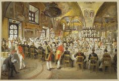 Painting by Mihály Zichy of Alexander II's gala dinner in the Concert hall of the Winter Palace, 1873.