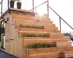 Wood is one of the most practical materials for building the staircase in the private house or at the cottage. Paving Slabs, Porch Steps, Wooden Staircases, Stair Case, Staircase Design, Simple Designs, Canopy, Beams, Terrace