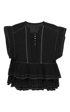 Black Pleated Crepe Raquel Top by Isabel Marant for Preorder on Moda Operandi