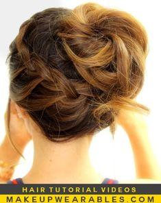 easy bun updo with a braid for medium hair