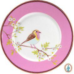 Prato em porcelana Pip Studio Pássaro para doces e sobremesas. www.casadaalice.com.br