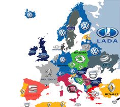 These are the top-selling cars in each country. 28 Maps That Will Completely Change The Way You View Europe European Map, European Countries, European History, Carros Suv, Funny Maps, Volkswagen, Sketch Note, Most Popular Cars, Geography Map
