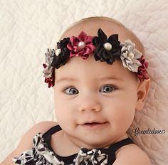 Lily!!  Baby Headband, Child Headband, Plum Headband, Yellow Headband, Navy Headband, Flower Girl Headband,Floral Crown Headband, Halo Headband by WeAreCutieCouture on Etsy