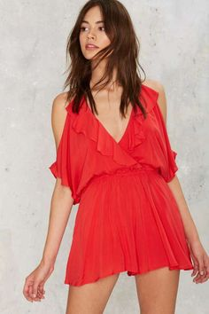 Play Ice Cold Shoulder Romper - Red