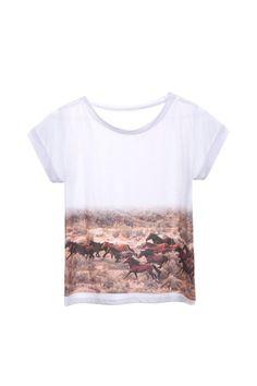 Women's Wild Horses Tshirt One Size Tee by OliveThomasShoes, $40.00