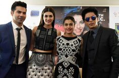 Shah Rukh Khan  Kajol  Varun Dhawan and Kriti Sanon are in town to promote their latest Bollywood film