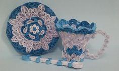 فن الأوريجامى ORIGAMI: Quilling cup set (Quilled cup , plate & spoon )