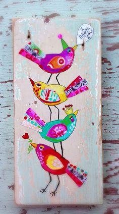 Love Birds Folk Art Gift For Mom by evesjulia12 on Etsy