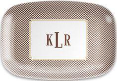 Chocolate Herringbone Melamine Platter