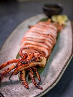 The grilled Squid at Pabu in San Francisco, Calif. is seen on August Photo: Special To The Chronicle Grilled Squid, Grilled Seafood, Fish And Seafood, Squid Recipes, Seafood Buffet, Party Buffet, I Want To Eat, Aesthetic Food, Japanese Food