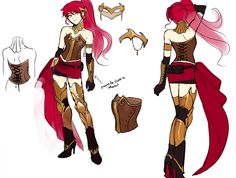 Concept art of Pyrrha Nikos from RWBY. Rwby Fanart, Rwby Anime, Rwby Cosplay, Female Character Design, Character Concept, Concept Art, Character Art, Character Reference, Character Inspiration
