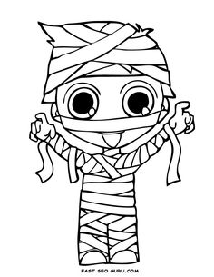 print out halloween kid mummy coloring page - Cute Halloween Owl Coloring Pages