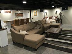Flat black celling Man Cave Basement, Black Ceiling, House Yard, Black Flats, Couch, Diy, Furniture, Ideas, Home Decor