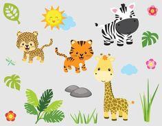 Wandtattoo - Wandsticker Safari-Dschungel Zoo Tiere bsm-LB25 - ein Designerstück von universumsum bei DaWanda
