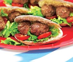 This easy recipe for mini lamb kofta pittas (spicy lamb meatballs in pitta bread sandwiches) is ideal for picnics or packed lunches. Asda Recipes, Cooking Recipes, Healthy Recipes, Lamb Koftas, Lamb Meatballs, Filling Snacks, Lamb Dishes, Greek Cooking, Savoury Baking