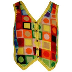 For Sale on - Incredible vintage Adolfo for Tallyho sweater vest in day glow colors! Needpoint front features circles and squares. Partially lined with front button Belted Cardigan, Knit Cardigan, Knit Vest Pattern, Red Skirts, Knit Skirt, Blouse Vintage, Vintage Knitting, Vintage Sweaters