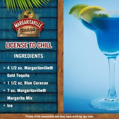 Just few days more for the weekend, you need a license to chill, if you're agree, this is the margarita flavor for you! Frozen Cocktails, Cocktail Drinks, Fun Drinks, Beverages, Pool Drinks, Mixed Drinks, Yummy Drinks, Cocktail Recipes, Drink Recipes