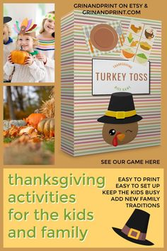 Do you want to start some Thanksgiving Traditions? Our Games can help you do that. At Grinandprint we have some fun Thanksgiving Activities for Kids to keep them busy after the Thanksgiving Dinner. Maybe you want a Thanksgiving Party Idea or you need something for a Thanksgiving Class Party. This game is made just for those things. #kidsactivities #familyactivities #thanksgiving #thanksgivinggames #holiday #printable #classroom Thanksgiving Activities For Kids, Thanksgiving Traditions, Thanksgiving Parties, Family Thanksgiving, Kids Party Tables, Dinner Party Games, Fall Games, Cheap Party Decorations, Thanksgiving Invitation