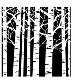"""12""""X12""""-Aspen Trees, stencil at Joann"""