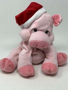 "Beverly Hills Teddy Bear Plush Santa Pig Hand Puppet Pink 11"" Stuffed Toy  #BeverlyHillsTeddyBearCo Snuggle Bear, Animal Hand Puppets, Monkey Puppet, Puppet Toys, Cute Monkey, Stuffed Toy, Beverly Hills, Plush, Santa"