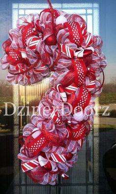 Deluxe Peppermint Candy Cane deco mesh Wreath by DzinerDoorz, $145.00 by erica