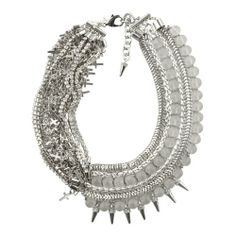 Assad Mounser - Beaded collar necklace with mini cross charms and spikes,plated metal chain and glass beading