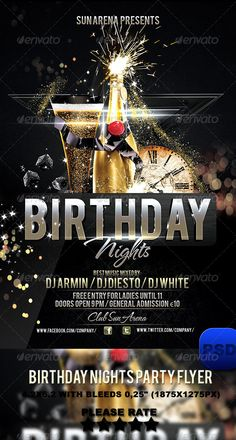 """Birthday Nights Party Flyer  #GraphicRiver         Birthday Nights Party Flyer   Free Fonts:  """"Bebas""""   .dafont /bebas.font """"TheNautiGal ROB""""  .fontsner /download/74184.html   4.2×6.2 with bleeds 0,25"""" (1875×1275px) Print Ready: CMYK , 300 DPI Everything in the PSD file is well grouped and organized. Checkout my gallery for many other print templates if you wish. The PSD file is very well organised and layers named appropriately     Created: 23November13 GraphicsFilesIncluded…"""