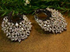 Black small diamond beads with elegant earings.