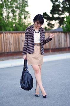 Striped blazer, dot shirt, neutral skirt