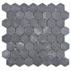 Merola Tile Crag Hexagon Black 11-1/8 in. x 11-1/8 in. x 10 mm Slate Mosaic Tile, Black/Low Sheen
