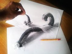 3D Drawings That Jump Off The Page: Artist Ramon Bruin is taking hyperrealistic drawings to a whole new dimension – the third dimension, to be more precise! Ramon who is a Dutch illustrator, creates realistic 3D renderings of snakes, birds, and all sort of creepy creatures using nothing but a pencil, paper and his own imagination. Those impressive cartoons you see seem to jump off the paper right at you! The technique in use is #Anamorphosis.